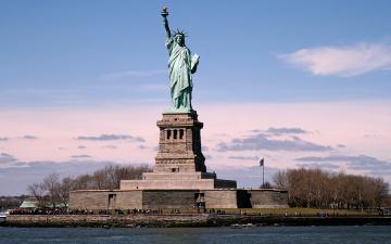 Картинка города нью йорк сша of the statue liberty in new york usa