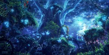 Картинка аниме *unknown+ другое розы механизм рыбки заяц грибы ночь цветы деревья лес фея крылья девушка природа