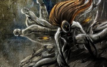 Картинка аниме bleach блич арт монстр волосы черепа дождь