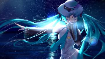 Картинка аниме vocaloid шляпа океан луна звезды небо ночь девушка hatsune miku арт