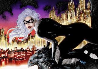обоя рисованное, комиксы, огни, город, крыша, женщина-кошка, горгулья