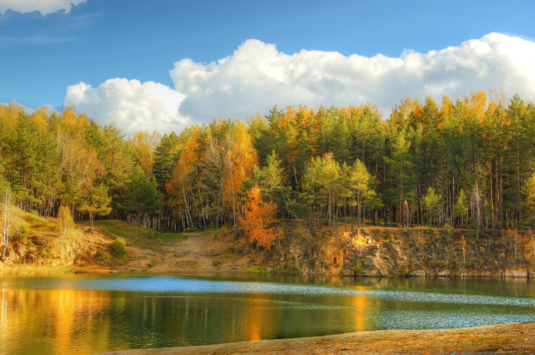 обои на рабочий стол осень природа река озеро лес № 241649 загрузить