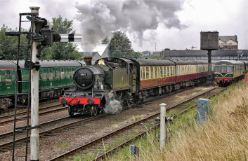 Картинка техника паровозы железная дорога рельсы паровоз