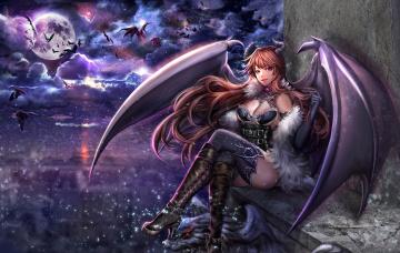 Картинка аниме ангелы +демоны sangrde арт девушка демон крылья ночь луна