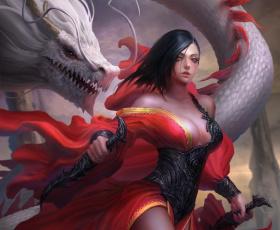 Картинка фэнтези красавицы+и+чудовища дракон оружие платье взгляд девушка арт