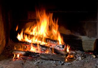 Картинка природа огонь пламя дрова поленья очаг