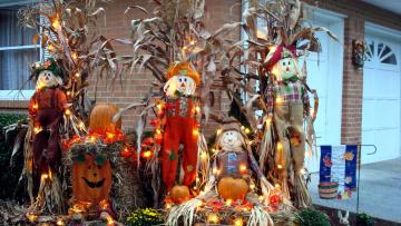 обоя праздничные, хэллоуин, тыква, композиция