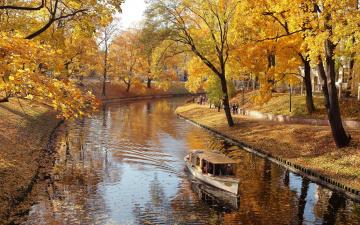 обоя корабли, лодки,  шлюпки, осень, лодка, парк, речка