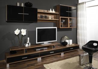 Картинка интерьер гостиная дерево коричневый телевизор стенка дизайн комната мебель шкаф