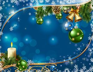 обоя праздничные, векторная графика , новый год, игрушки, ветки, свеча