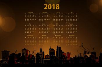 обоя календари, рисованные,  векторная графика, ночь, город