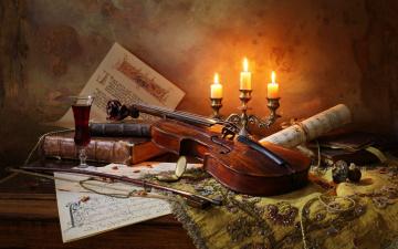 обоя музыка, -музыкальные инструменты, бокал, ноты, вино, скрипка, книги, свечи