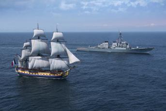 обоя корабли, разные вместе, парусник, эсминец, море, эпохи