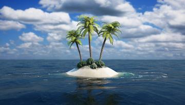 Картинка 3д графика sea undersea море островок пальмы три песок кусты облака