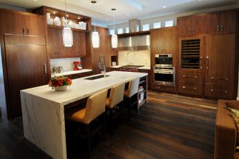 Картинка интерьер кухня стол люстра дизайн мебель плита