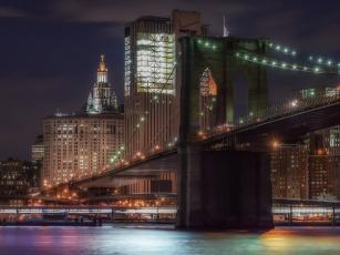 обоя brooklyn bridge, города, нью-йорк , сша, огни, ночь