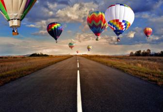 обоя авиация, воздушные шары, небо, полет, шоссе, дорога, воздушные, шары