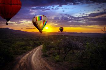 обоя авиация, воздушные шары, дорога, шары, воздушные, закат