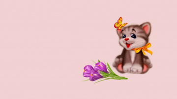 обоя рисованное, минимализм, бантик, бабочка, настроение, рисунок, детская, фон, котёнок, подарок, арт, праздник, цветы