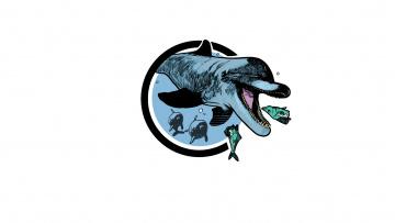 обоя рисованное, минимализм, дельфин, море, рыбка, охота