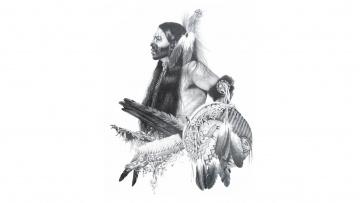 обоя рисованное, минимализм, раскрас, индеец, лицо, перья
