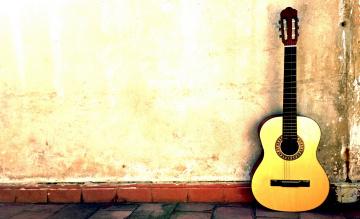 обоя музыка, -музыкальные инструменты, стена, гитара