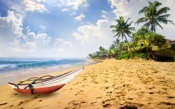 обоя корабли, лодки,  шлюпки, пальмы, paradise, берег, palms, пляж, sea, песок, море, sand, shore, beach, summer, tropical