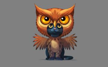 обоя рисованное, минимализм, owl, cat, сова, совакот, кот