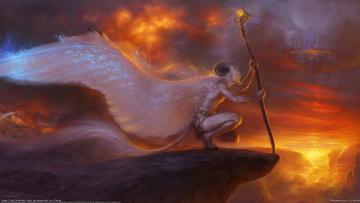 Картинка liiga smilshkalne фэнтези существа крылья посох скала