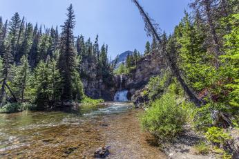 Картинка природа водопады водопад река лес