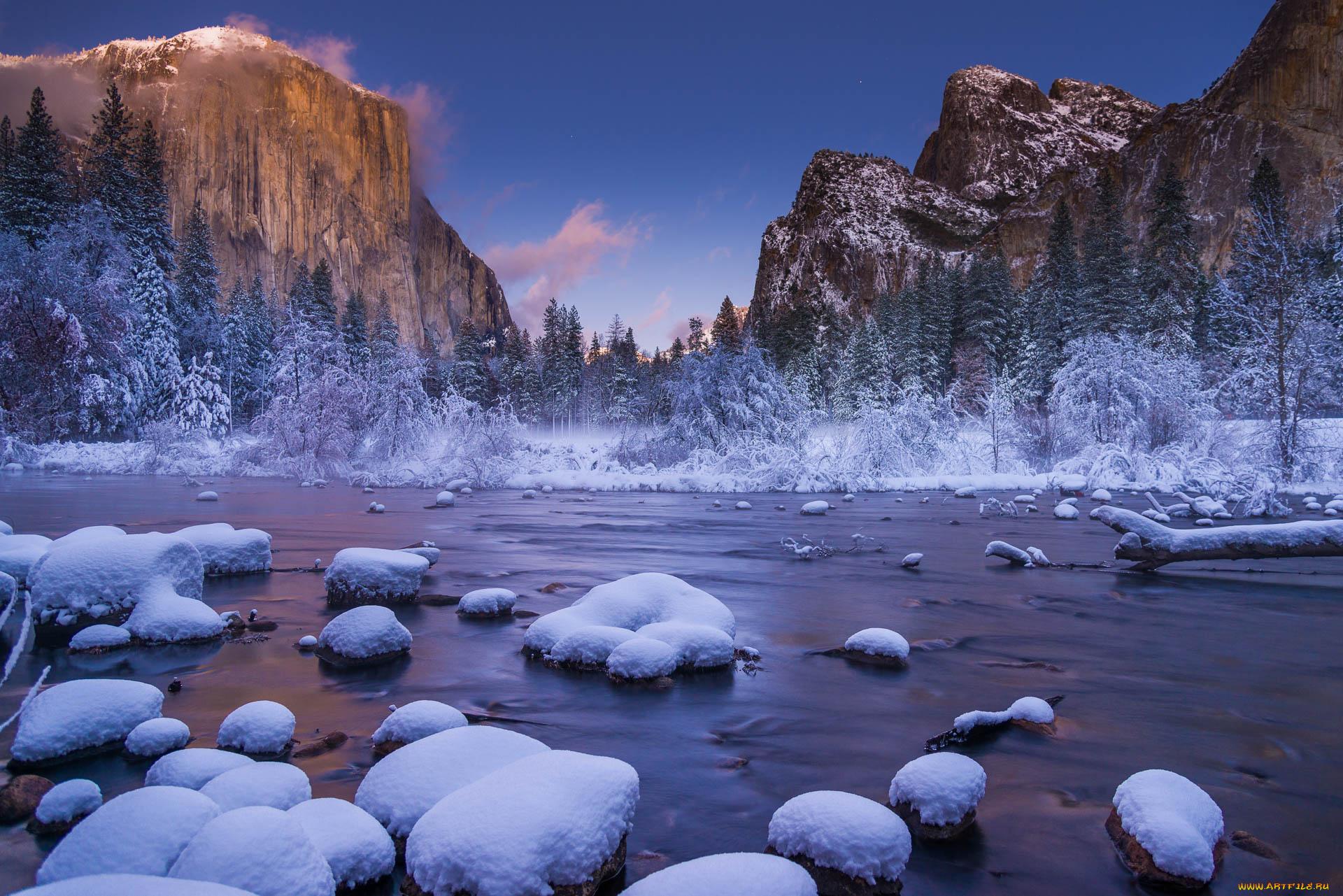 природа деревья скалы горы зима снег загрузить