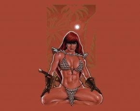 Картинка рисованное комиксы фон меч девушка взгляд кольчуга