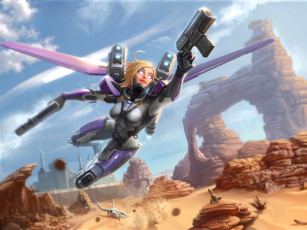 обоя фэнтези, роботы,  киборги,  механизмы, фантастика, оружие, блондинка, костюм, арт, полет, крылья, девушка