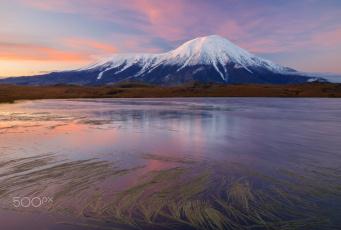 обоя природа, горы, камчатка, гора, озеро, небо