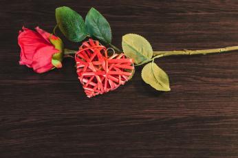 обоя праздничные, день святого валентина,  сердечки,  любовь, сердце, роза, цветок, почки
