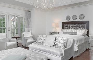 обоя интерьер, спальня, кровать, диван, стиль, дизайн, белый, зеркала, кресла