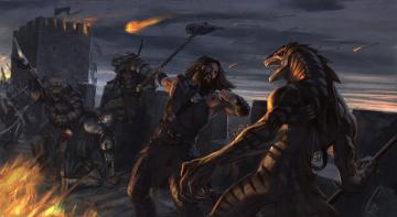 обоя фэнтези, существа, схватка, монстры, воины, мир, иной