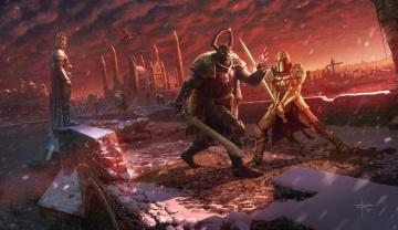 обоя фэнтези, люди, схватка, рыцари, иной, мир, воины