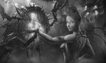 обоя фэнтези, роботы,  киборги,  механизмы, черно-белое, фото, девушка