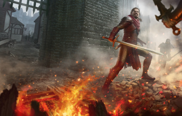 обоя фэнтези, люди, огонь, меч, доспехи, рыцарь, воин