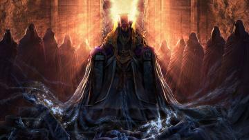 обоя фэнтези, нежить, трон, свет, свита, демон, души