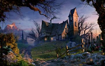 обоя фэнтези, пейзажи, дорога, забор, горы, деревья, дом