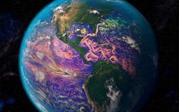 обоя космос, земля, океанические, течения, материк, южная, америка, северная, планета, спутниковая, графика