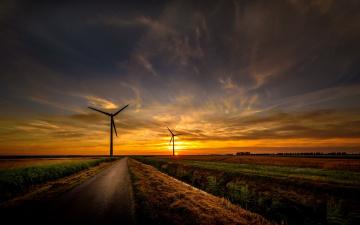обоя разное, мельницы, ветряки, закат, дорога