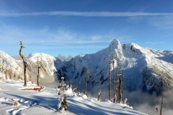 Картинка природа горы облака снег небо зима