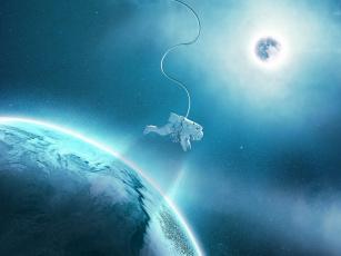 обоя космос, арт, скафандр, спутник, свет, астронавт, орбита, звезды, планета, космонавт