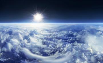 обоя космос, земля, солнце, облака, стратосфера
