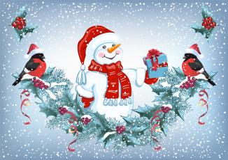 обоя праздничные, векторная графика , новый год, елки, зима, новый, год, праздник, снег, снеговик