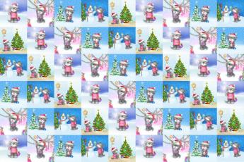 Картинка праздничные векторная+графика+ новый+год кошки елка