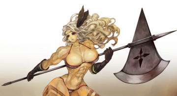 обоя аниме, оружие,  техника,  технологии, фон, девушка, алебарда, взгляд